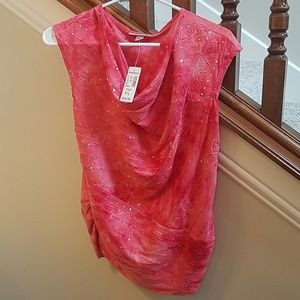 Sequins draped red/dark peach top